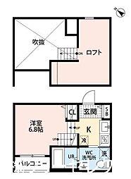 福岡県福岡市博多区春町3丁目の賃貸アパートの間取り