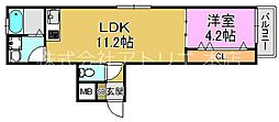 (仮称)東大阪市稲田上町1丁目計画 3階1LDKの間取り