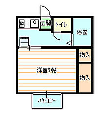 霊屋第二コーポナバタ[203号室]の間取り