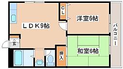 山陽電鉄本線 藤江駅 徒歩14分の賃貸マンション 2階2LDKの間取り