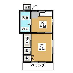 上野ハイツ 2階1Kの間取り