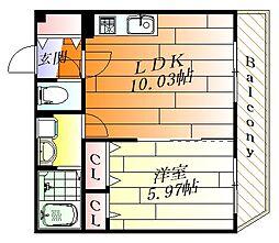 ラヴィベール原田元町 2階1LDKの間取り