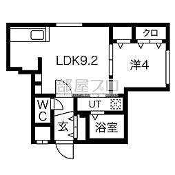 ル・ヌアージュ豊平 5階1LDKの間取り
