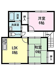 リバーサイドハイツ[105(2階)号室]の間取り