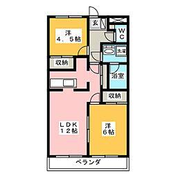 ハイツスイートドリームA棟[2階]の間取り