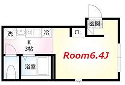 京急本線 黄金町駅 徒歩4分の賃貸アパート 3階ワンルームの間取り
