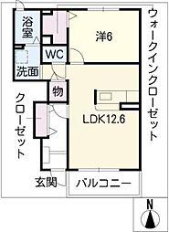 ルサルカ B棟[1階]の間取り