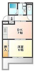 兵庫県西宮市甲子園洲鳥町の賃貸マンションの間取り