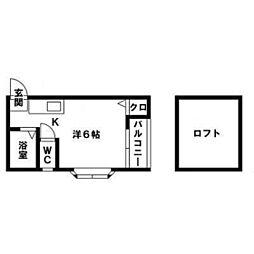 福岡県福岡市南区井尻5丁目の賃貸アパートの間取り