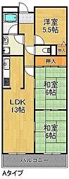 レユシール谷村三番館 2階3LDKの間取り