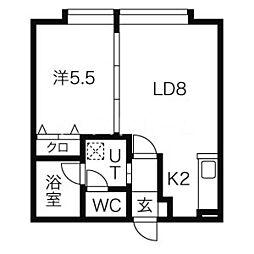 レアルコンシェルト 2階1LDKの間取り