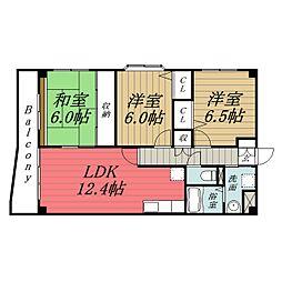 千葉県千葉市緑区おゆみ野有吉の賃貸マンションの間取り