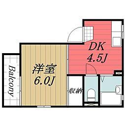 千葉県富里市日吉台5丁目の賃貸アパートの間取り