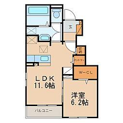 ワ・ホープII 1階1LDKの間取り