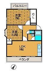 東京都町田市木曽西4丁目の賃貸マンションの間取り