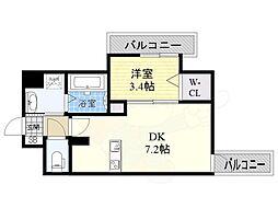 JR東海道・山陽本線 東淀川駅 徒歩1分の賃貸マンション 8階1DKの間取り