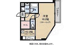 JR中央線 武蔵小金井駅 徒歩4分の賃貸マンション 4階ワンルームの間取り