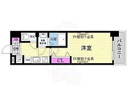 JR東海道・山陽本線 西大路駅 徒歩10分の賃貸マンション 2階1Kの間取り