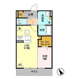 (仮)福居町プロジェクト C[1階]の間取り