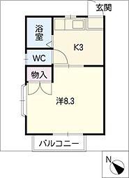 シングル鍵田B棟[2階]の間取り
