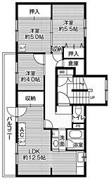 ビレッジハウス大楽毛3号棟 4階3LDKの間取り