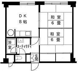 円山パークサイドマンション[708号室]の間取り