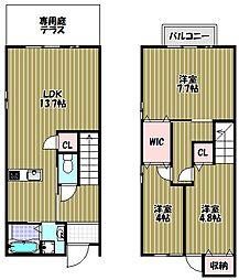 [タウンハウス] 大阪府堺市南区原山台4丁 の賃貸【/】の間取り