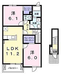 広島県福山市曙町6丁目の賃貸アパートの間取り