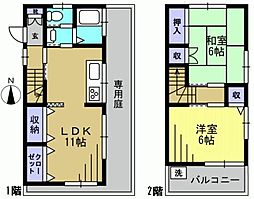 [一戸建] 東京都大田区蒲田1丁目 の賃貸【/】の間取り