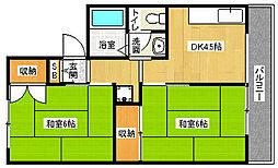 京都府京都市北区西賀茂川上町の賃貸アパートの間取り