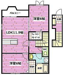 広島県広島市安佐南区長楽寺2丁目の賃貸アパートの間取り