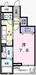 兵庫県姫路市北条の賃貸マンションの間取り