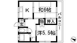 兵庫県川西市西畦野2丁目の賃貸マンションの間取り