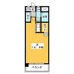 ラ・クルール 1階ワンルームの間取り