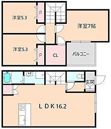 [タウンハウス] 大阪府豊中市小曽根3丁目 の賃貸【/】の間取り
