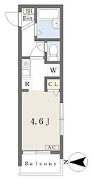 メルディア野方 3階ワンルームの間取り