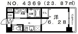 大阪府大阪市阿倍野区昭和町4丁目の賃貸マンションの間取り