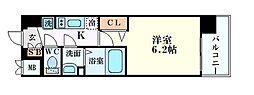 プレサンスOSAKA三国ネオス 4階1Kの間取り