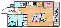 ネクステージ武庫之荘 1階ワンルームの間取り