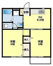 愛知県豊田市豊栄町3丁目の賃貸アパートの間取り