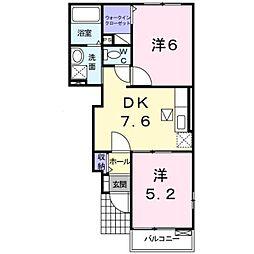 伊予鉄道高浜線 港山駅 徒歩9分の賃貸アパート 1階2DKの間取り