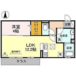 片岡マンションI[1階]の間取り