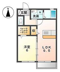 愛知県あま市木田北屋敷の賃貸アパートの間取り