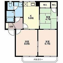 長野県長野市川中島町上氷鉋の賃貸アパートの間取り