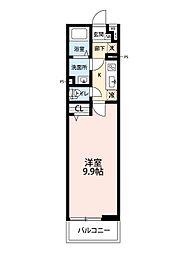 西武池袋線 所沢駅 徒歩8分の賃貸マンション 3階1Kの間取り