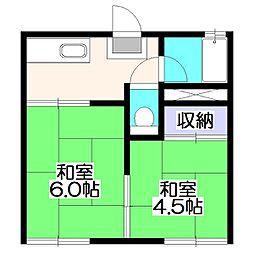 埼玉県新座市栄4丁目の賃貸アパートの間取り