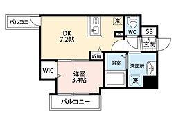JR東海道・山陽本線 東淀川駅 徒歩2分の賃貸マンション 4階1DKの間取り
