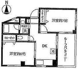 フジコーポ 2階2DKの間取り
