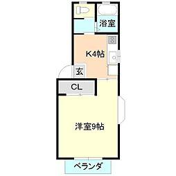 パルティールB棟[2階]の間取り