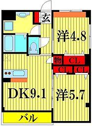 埼玉県さいたま市緑区大字大門の賃貸マンションの間取り
